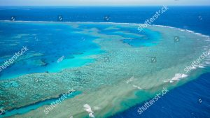 stock photo aerial view of great barrier reef in whitsundays queensland australia